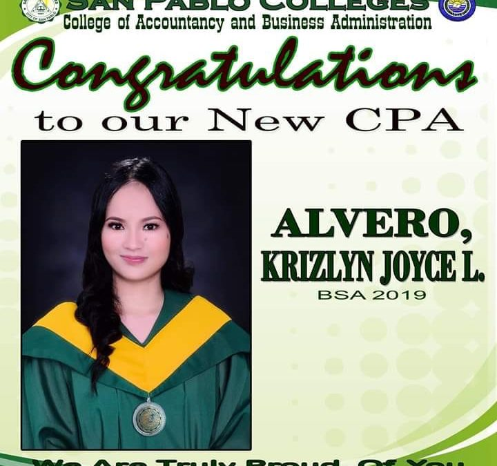 Congratulations to Ms. Krizlyn Joyce L. Alvero for passing the October 2019 CPA Licensure Examinations!