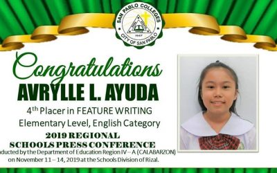 CONGRATULATIONS AVRYLLE L. AYUDA of Grade 6 – St. Matthew!