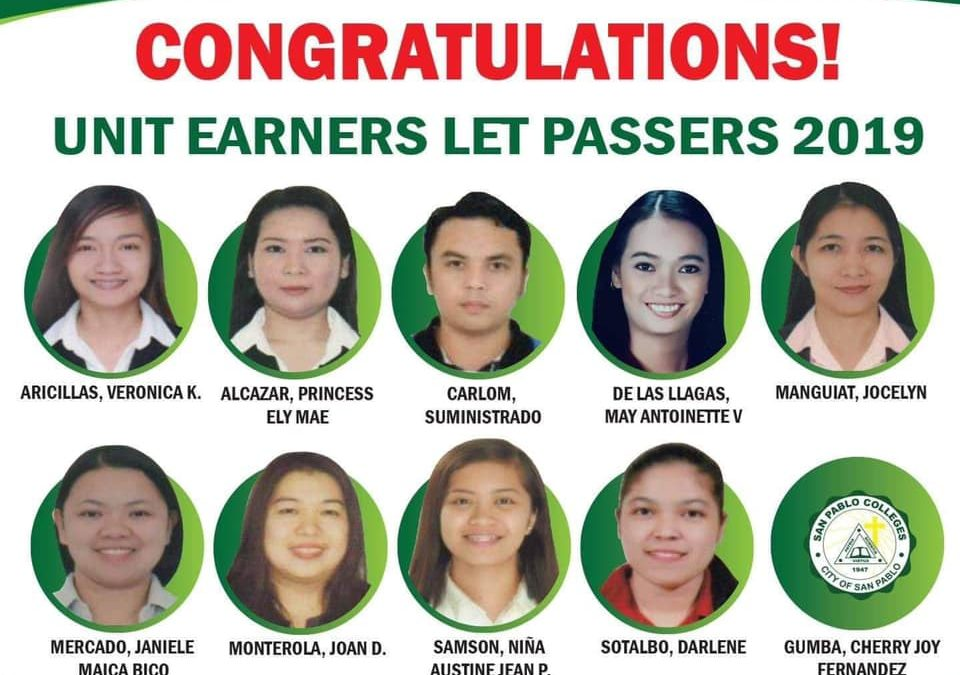 Congratulations to our San Pablo Colleges LET Passers!