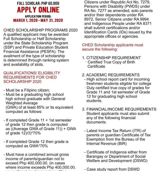 Apply ONLINE for CHED scholarship for 2020.