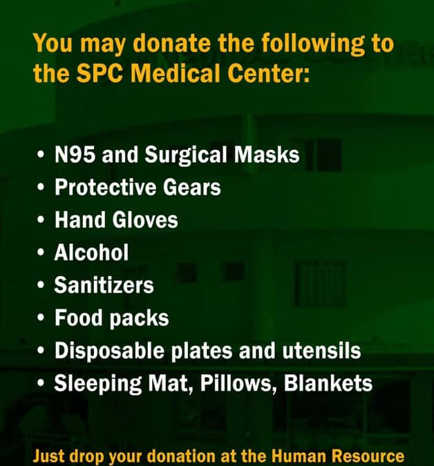 Help the San Pablo Colleges Medical Center frontliners combat COVID-19.