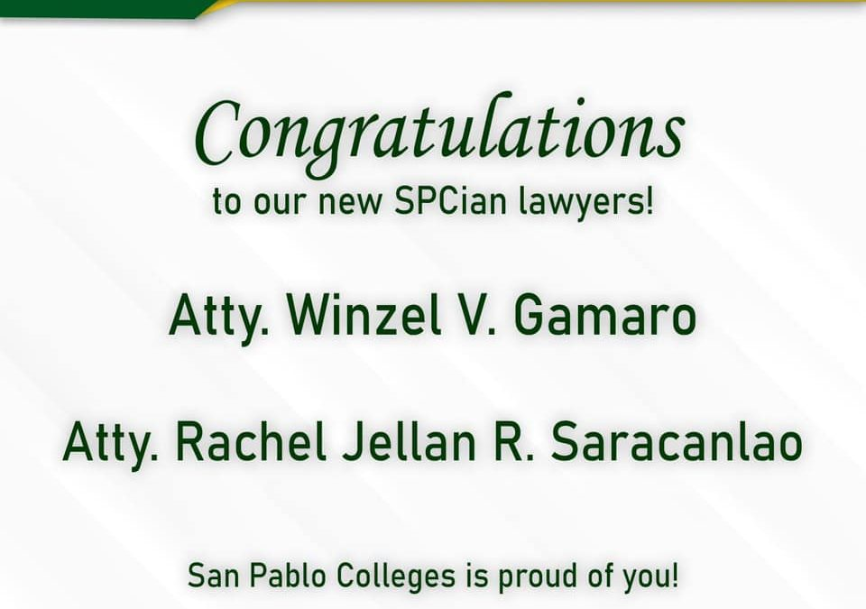 San Pablo Colleges congratulates our new SPCian lawyers!