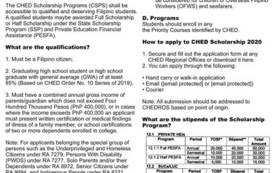 CHED Scholarship 2020 application guidlines.