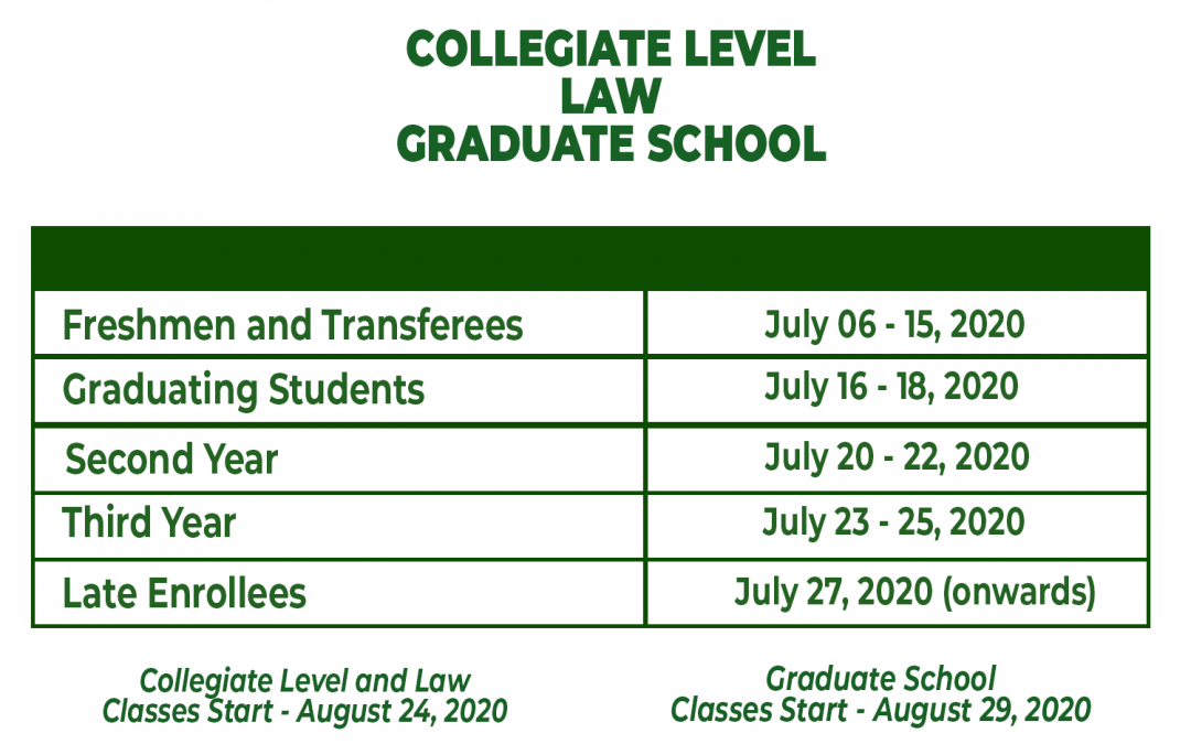 San Pablo Colleges community, here's the enrollment schedule for the school year 2020-2021.