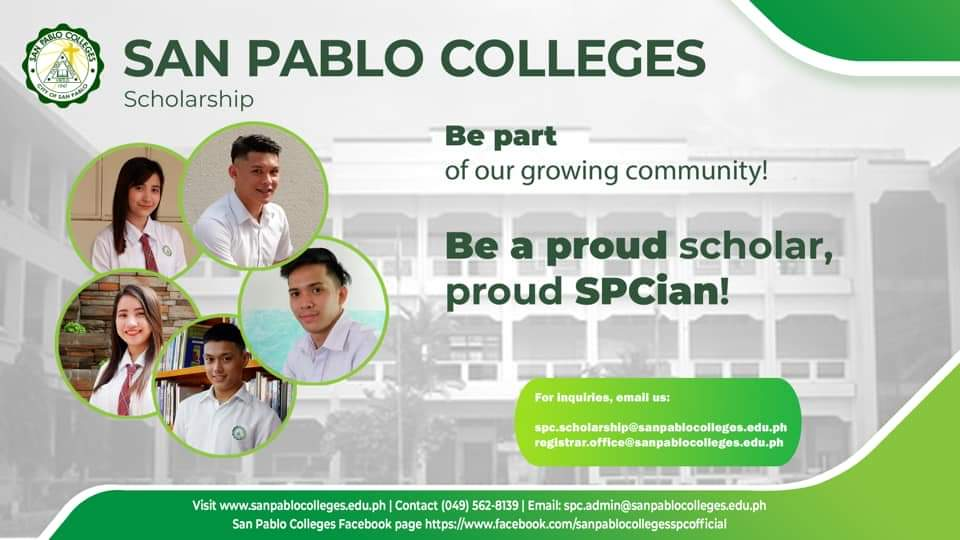 Aspiring SPCians, here's your chance to be part of the growing San Pablo Colleges community.