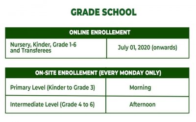 Enrollment schedule for the school year 2020-2021.
