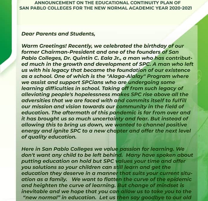 Here's the official statement regarding the educational continuity plan of our beloved institution for the Academic Year 2020-2021.