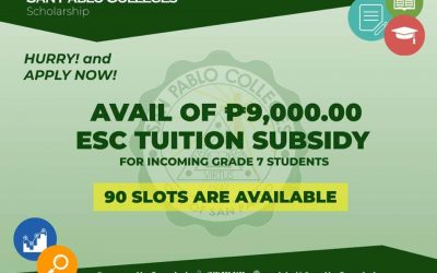 For incoming grade 7 students, apply for ESC tuition subsidy and be one of 90 beneficiaries.