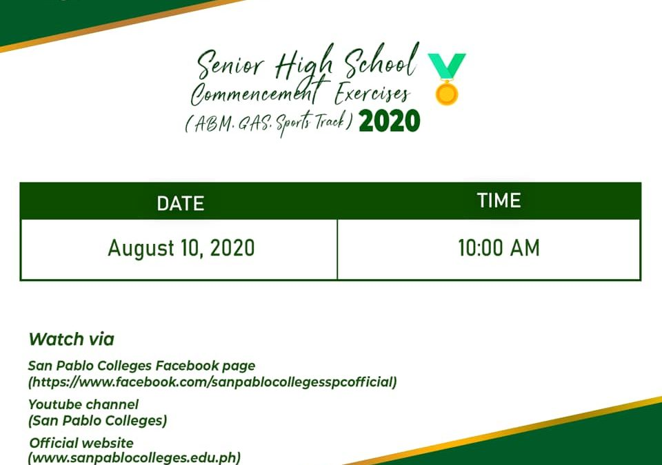 The much awaited commencement exercises of #SanPabloColleges Senior High School Department (ABM, GAS, Sports Track) is finally happening.