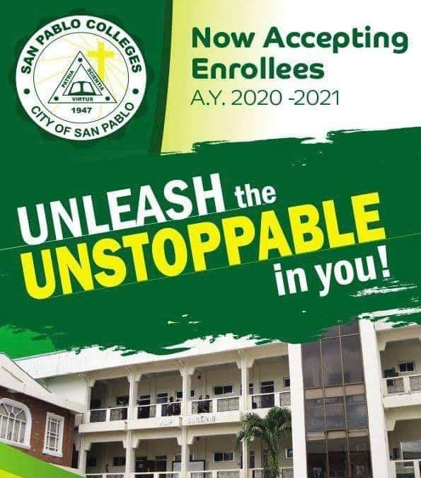 SanPabloColleges is now accepting enrollees for A.Y. 2020-2021.