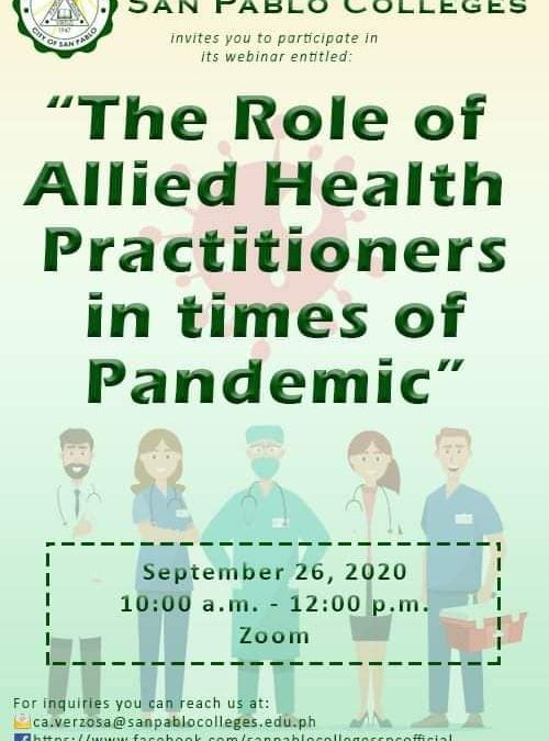 The Role of Allied Health Practioners in times of Pandemic