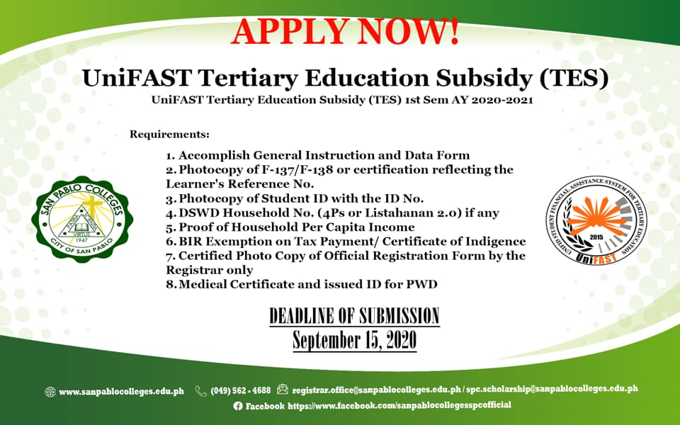 UniFAST Tertiart Education Subsidy