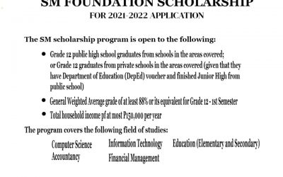 SM Foundation Scholarship for S.Y. 2021-2022